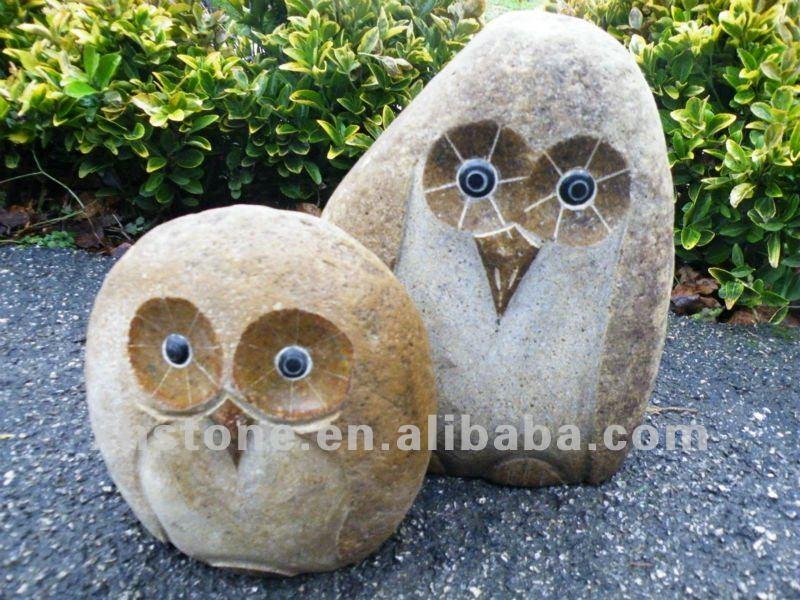 Garden stone carvings mini owl sculptures