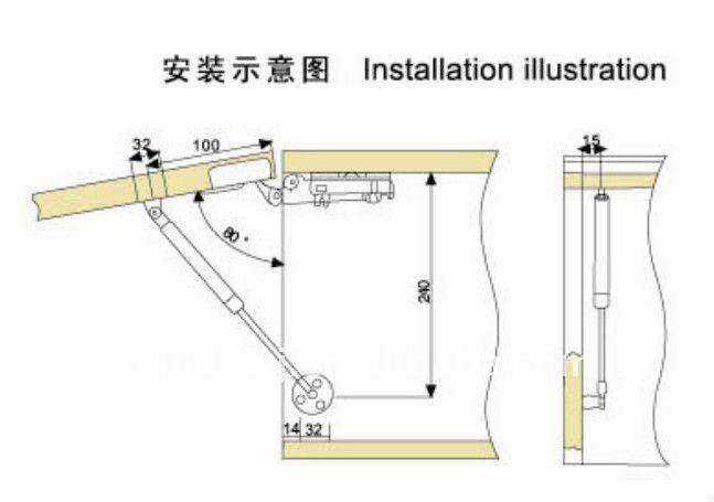 Pneumatic Kitchen Cabinet Door Support KXM-603