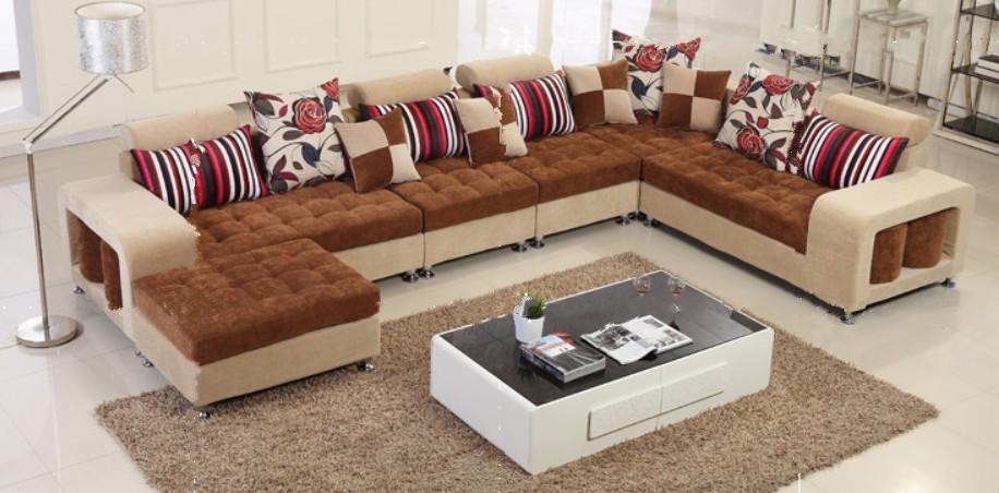 2014 Living Room Newest Design L Shape Fabric Sofa Corner ...
