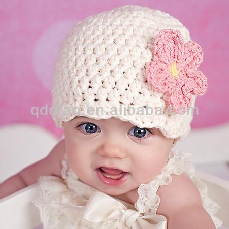 Crochet Flower Pattern For Newborn Hat : Cute Baby Hat Crochet Pattern Newborn Baby Girls Flower ...
