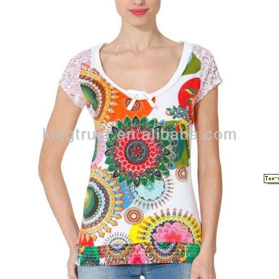 whole fashion woman body tight printing design tshirts
