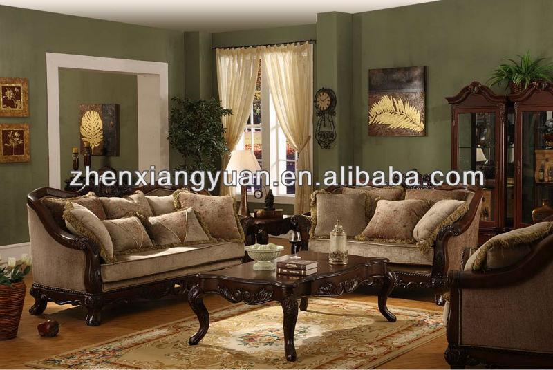 Home Furniture Antique Sofa Royal Luxury Wooden Sofa Sets Elegant Designs