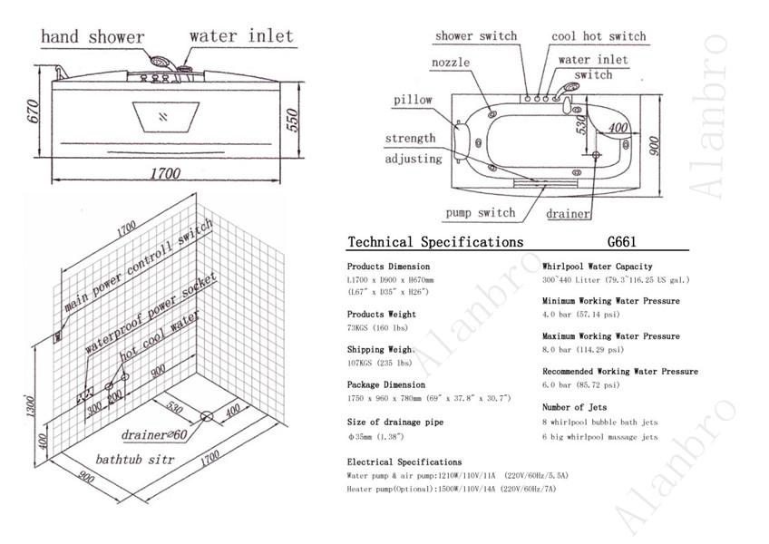 hydro massage hot spa tub g661 acrylic tub surround bath tub