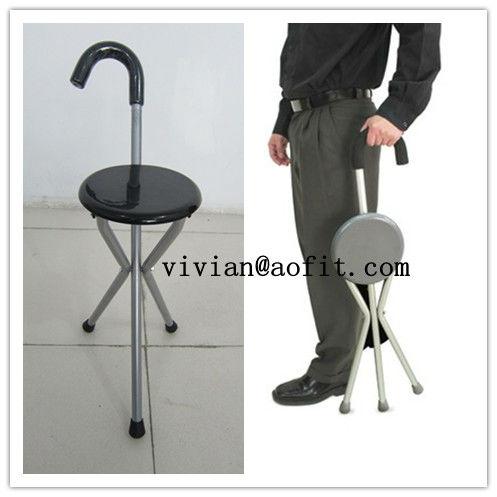 Folding Portable Travel Cane Walking Stick Seat Camp Stool
