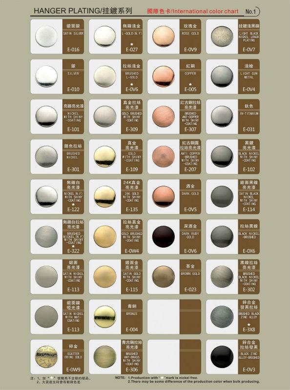 International Metal Color Chart Buy Metal Buttons