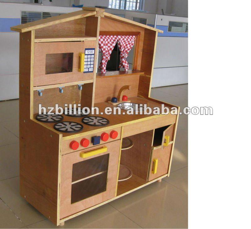 Kids children big wooden kitchen sets toy in natural color for Kitchen set natural