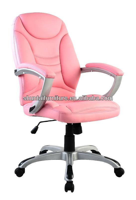 White Pink Baking Varnish Pu Leather Executive Office