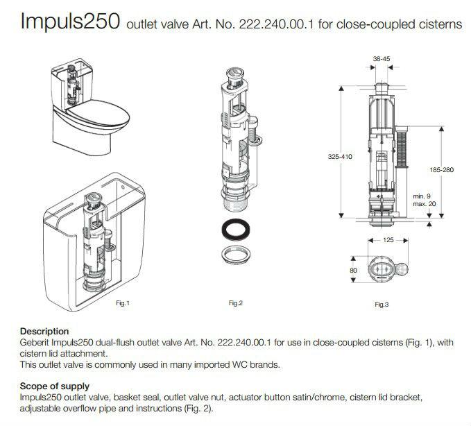 Implus Typ250 Geberit Dual Flush Valve For Toilet Cistern
