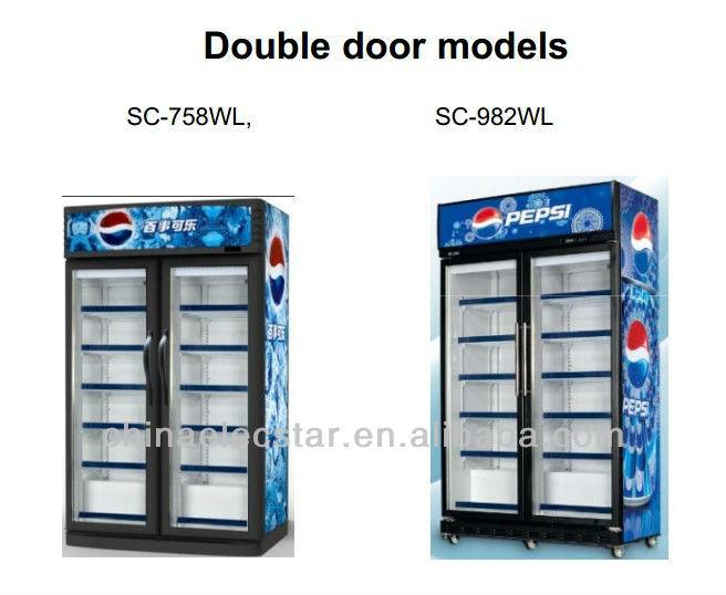 Double Door Display Visi Cooler Beverage Chiller