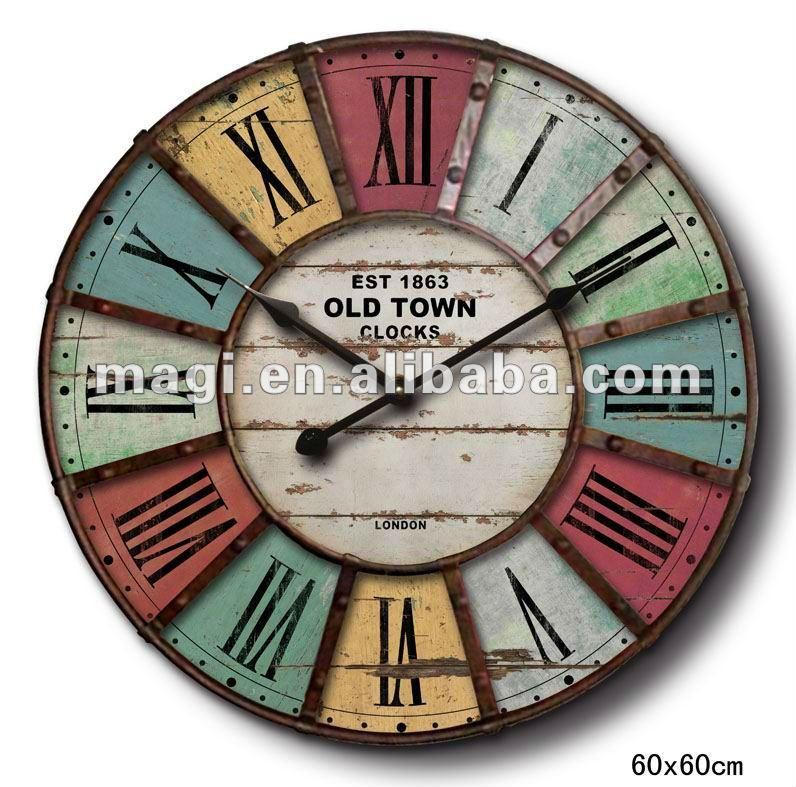 60 60cm antique round shape metal wall clock buy wall - Relojes grandes de pared ...