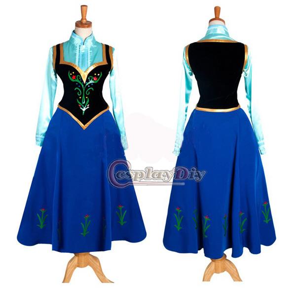 Movie Frozen Deluxe Anna Princess Dress Cosplay Costume ...