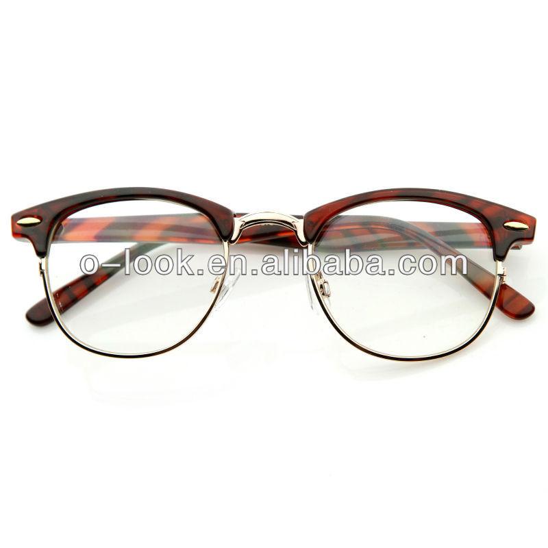 Master Sunglasses  optical quality horned rim clear lens rx able half frame club