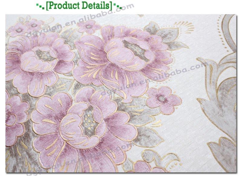 Romantic floral design european style pvc wall paper for Papier peint romantique