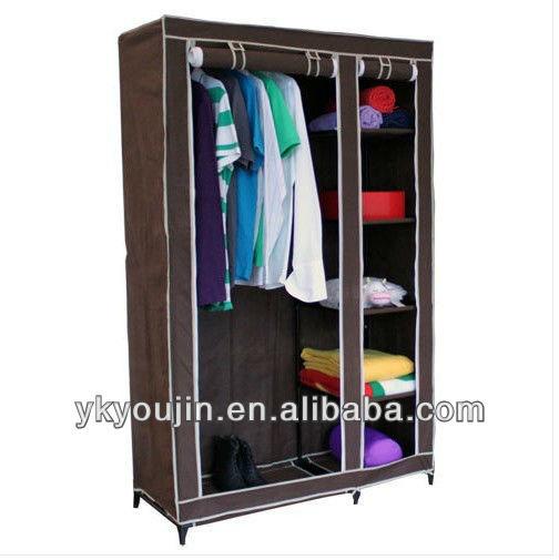 double canvas wardrobe rail clothes storage shelf cloth. Black Bedroom Furniture Sets. Home Design Ideas
