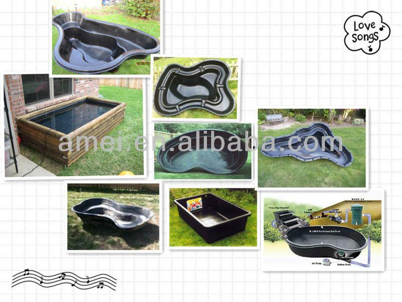 A preformed plastic pond buy welded pond liner insert for Garden pond insert
