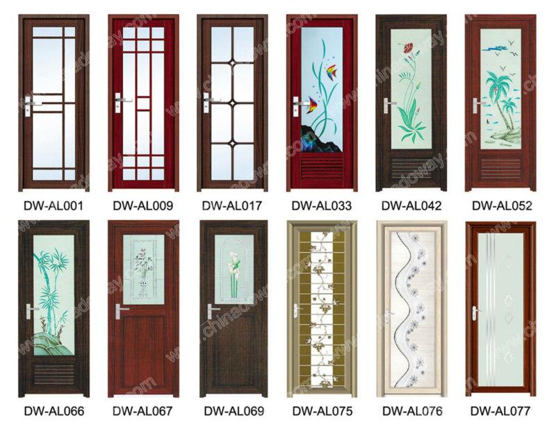 Cheap Aluminum Alloy Interior Full Glass Bathroom Door
