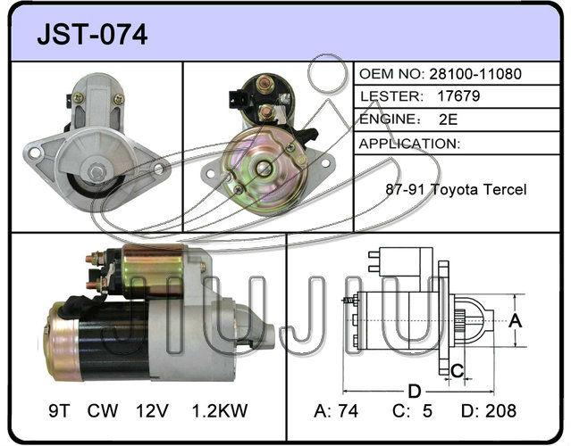 Auto Starter Motor Toyota Starter 9t Cw 12v 17679