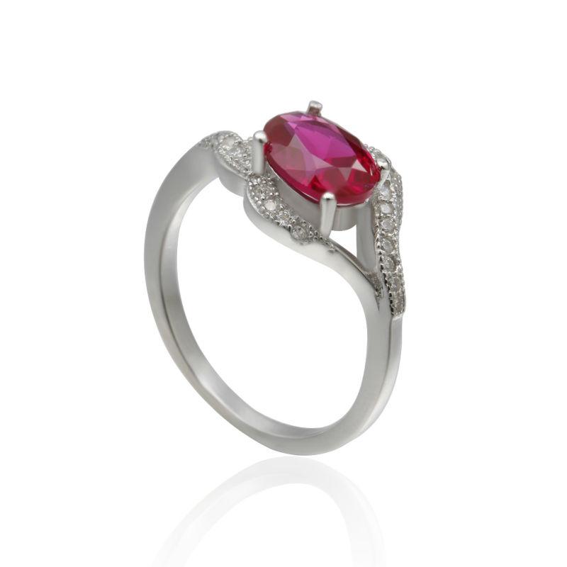 cheap fashion emerald shape sterling silver ring