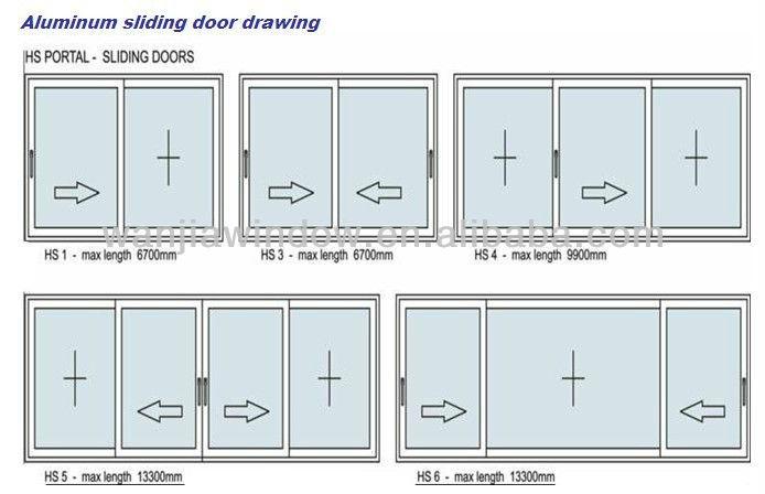 Aluminium sliding doors drawing main front glass door for Sliding glass doors drawing