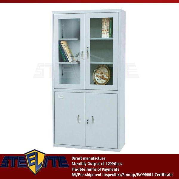 2 Glass Door Display Cabinet With Adjustable 4 Shelves