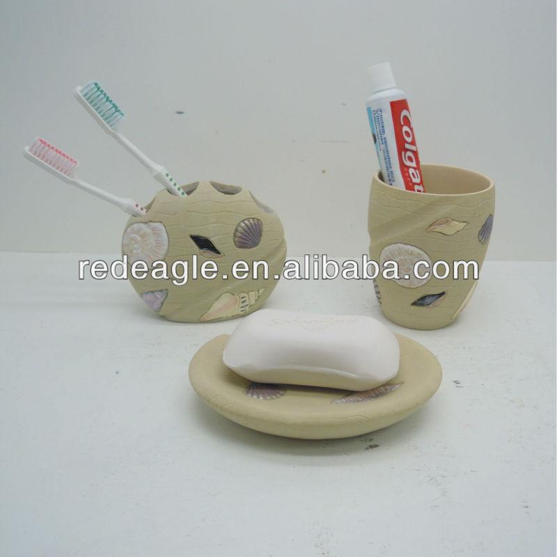 ea0370 beach theme sea shell bathroom set accessories made