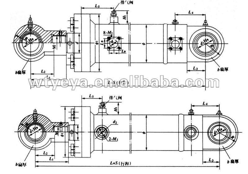 hydraulic cylinder for engine hoist