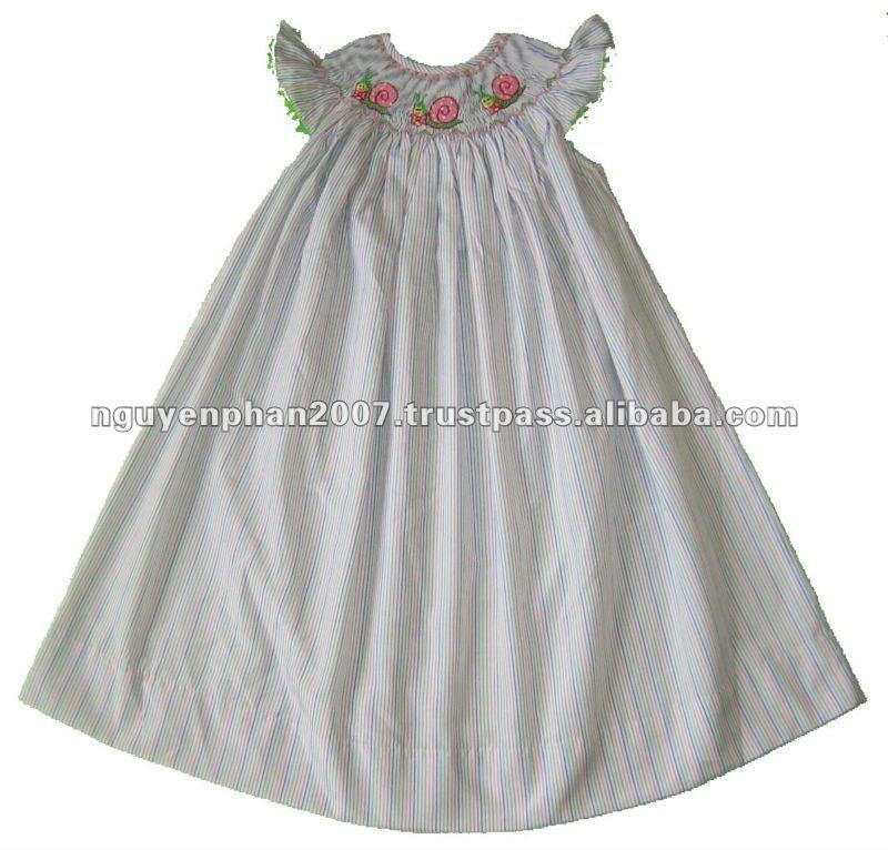 White Blue Stripes Smocked Snails Baby Girls Bishop Dress