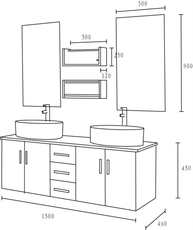 Doppio lavabo bagno vanit 476 buy doppio lavabo - Dimensioni lavandino bagno ...