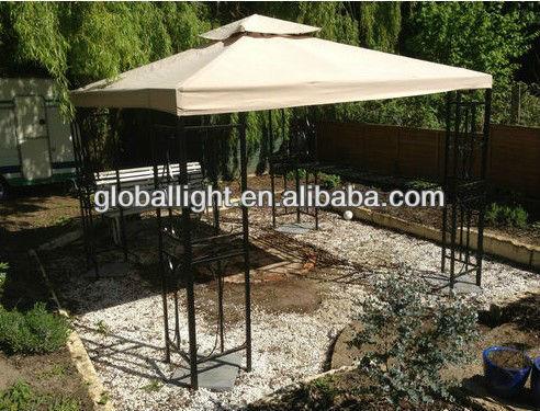 garden patio metal gazebo with drink food bar 3m x 3m