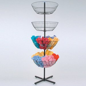4 Tier Metal Spinner Display Rack with Spinning Baskets