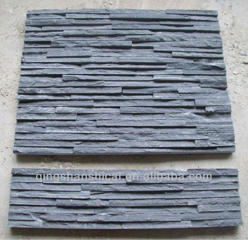 Black slate wall cladding stone panel stone veneer sheet for Interior brick veneer cost