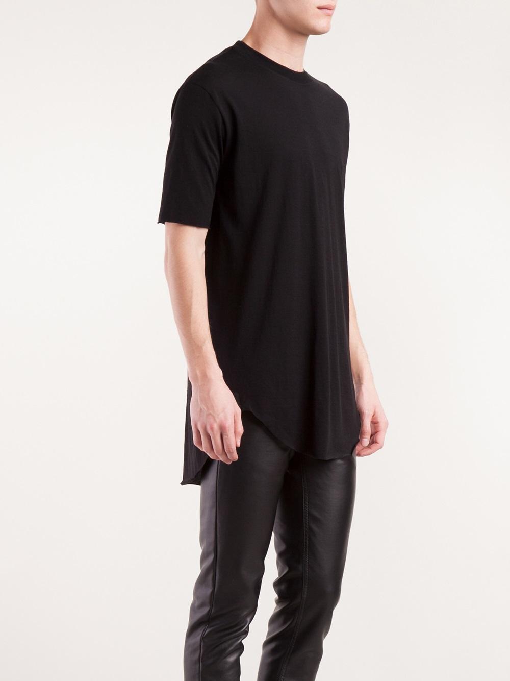 Wholesale Mens Plain Long Length T-shirts Raw Trimming ...