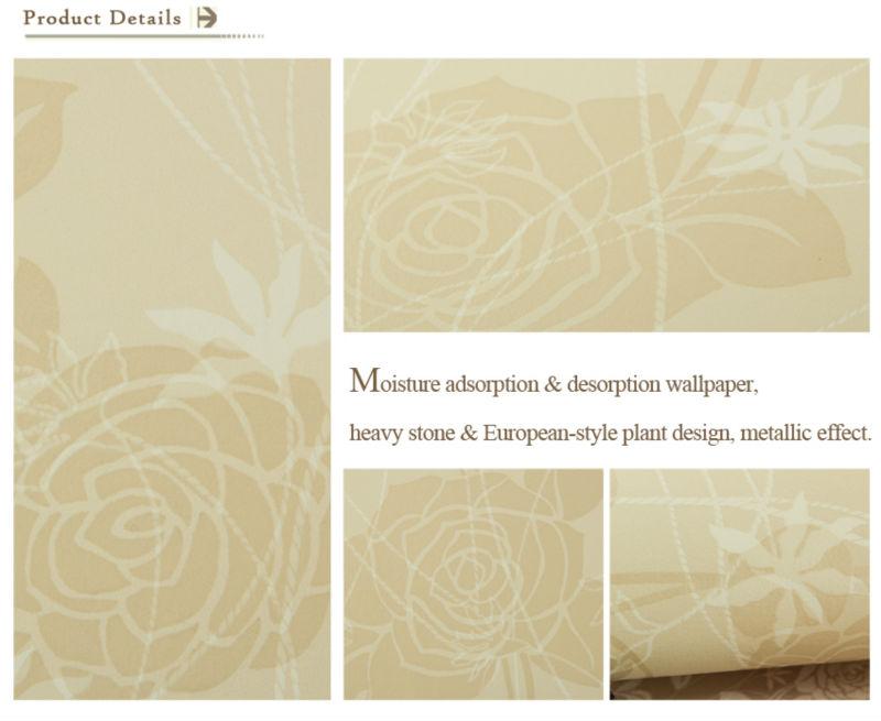 Floral moisture adsorption desorption vinyl waterproof for Vinyl waterproof wallpaper