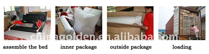 Gouden meubels 2015 heet verkoop punt van king size knop pu lederen bed g819 buy product on - Wit lederen bed ...