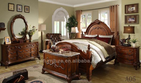 100% hand carve oak wood furniture american style bedroom furniture set  luxury bed frame A57
