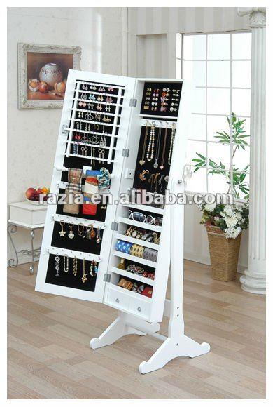 White Color Standing Furniture Mirror Jewellery Cabinet E009