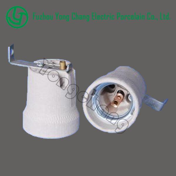 E27 Decorative Ceramic Lamp Holder With A Right Angle Bracket