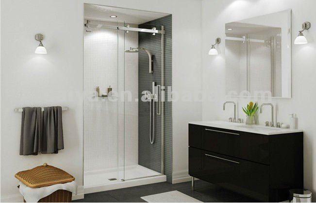 Sus304 ducha de vidrio sin marco puerta corredera de ducha - Puertas correderas de cristal para banos ...