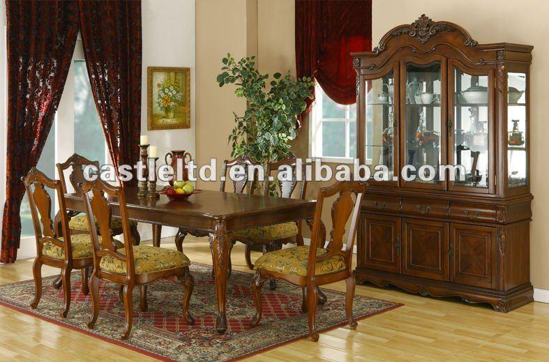 Solid wood hand carved big size antique dining room set for Large dining room sets