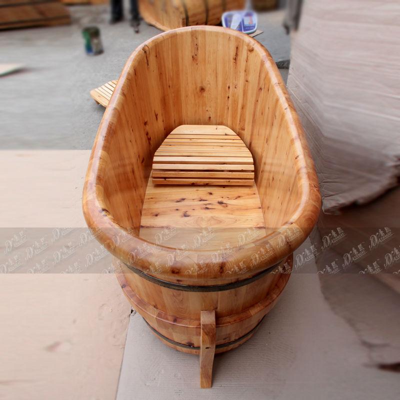 Solid Wood Cedar Small Corner Tub Shower Portable Soaking