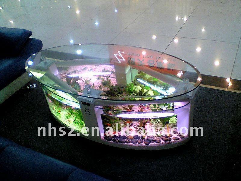 Oval Aquarium Table Fish Tank