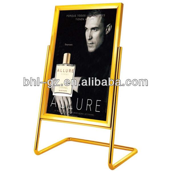 L Shape Golden Frame Hotel Sign Stand/ Elegant Design Metal Sample ...