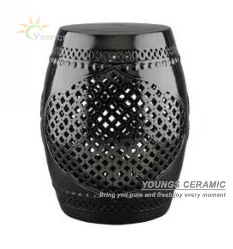 Chinese Black Lattice Ceramic Garden Stools H18inches