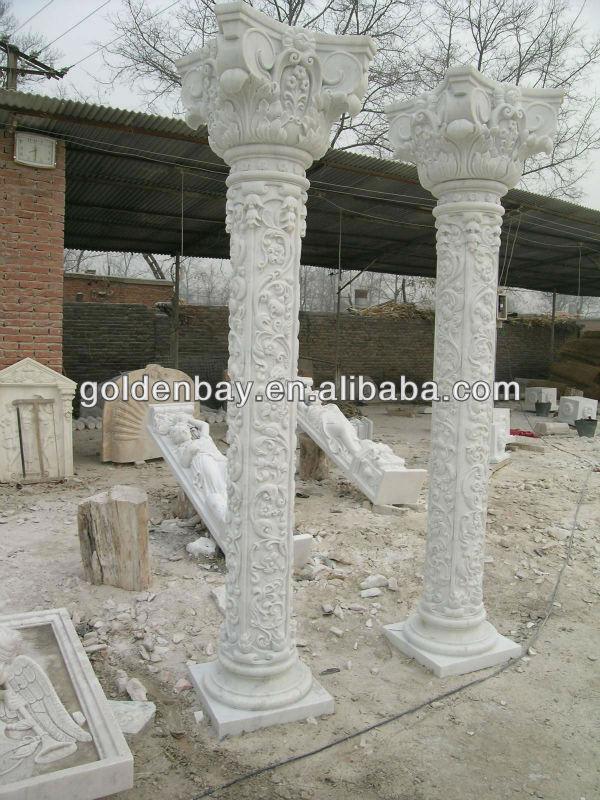 Natural Stone Columns : Roman round pillars marble column natural stone columns
