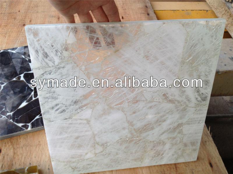 White Quartz Backlit Mosaic Slab Gem Stone Bar Countertop
