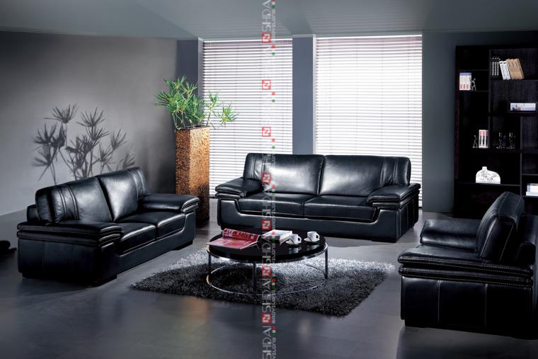 Zwart lederen bank in de woonkamer set goedkope sofa set goedkope