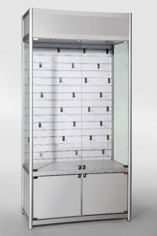 display vitrinas perfiles de aluminio vidrio templado volver slatwall superior con bisagras