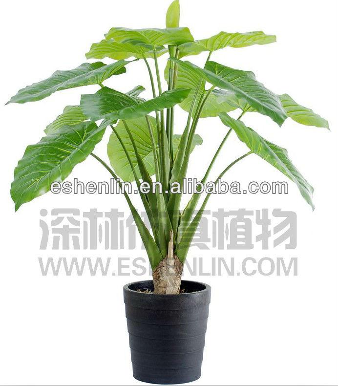 Potted Green Plant 4ft Decorative Big Leaf Plant