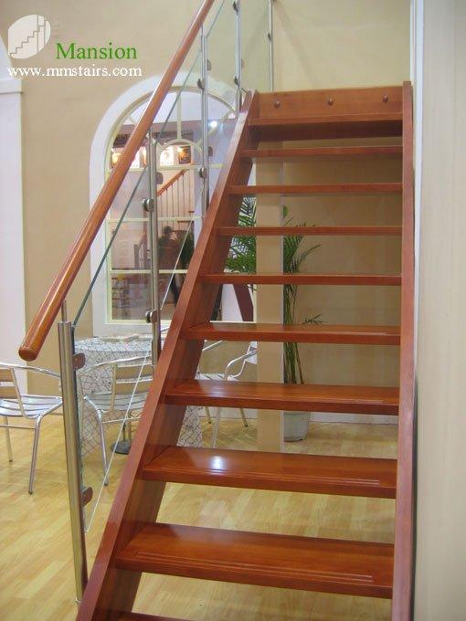 Mansión Interior Vidrio Recta Escaleras De Madera - Buy Vidrio ...