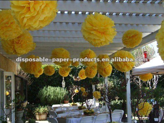 Tissue paper pom poms yellow 12 inch wedding paper balls flowers for tissue paper pom poms yellow 12 inch wedding paper balls flowers for weddingbaby bridal mightylinksfo